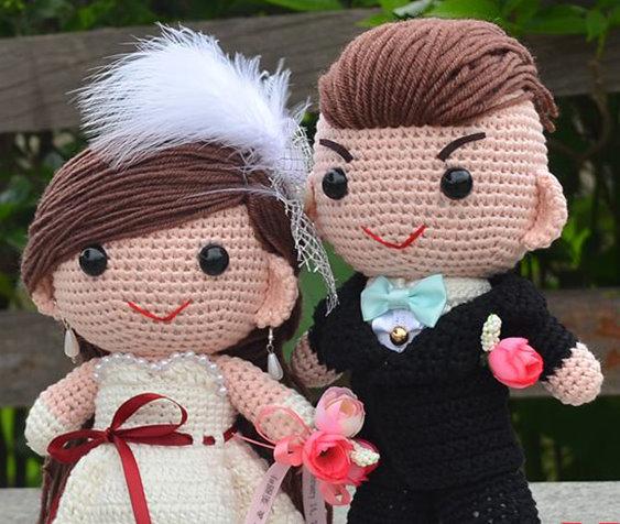 (可來圖訂制)原創手織西式毛冷結婚公仔