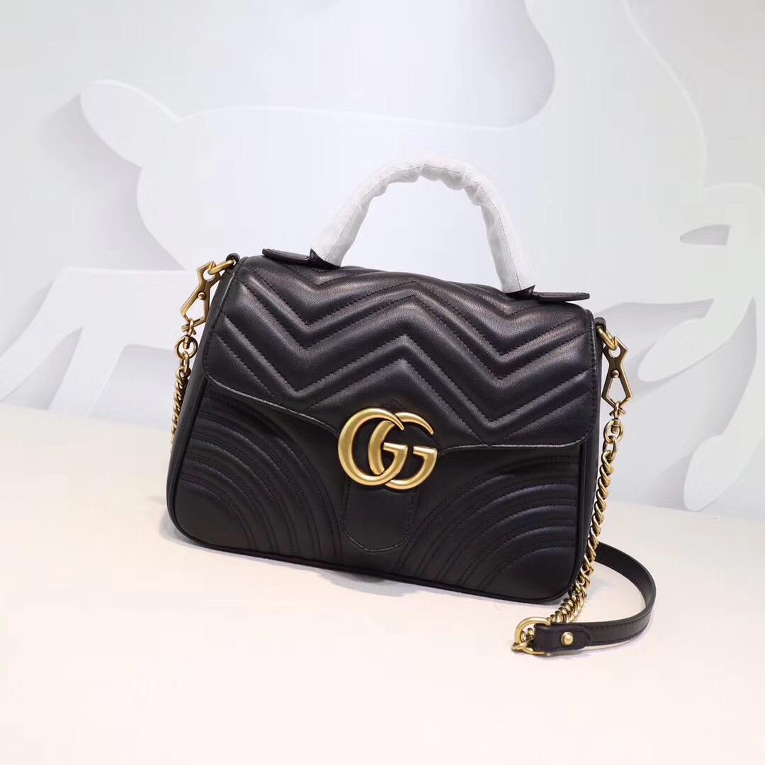 Gucci新款Maemont手提斜挎包 全款真皮打造 頂級原版品質 黑色全皮 尺寸:26.5*19.